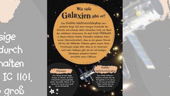 Bild aus dem Weltall mit Erklärung zu den Galaxien