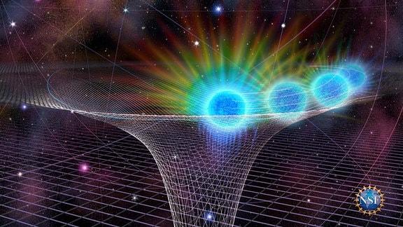 Grafische Simulation des Sterns SO-2, der den Schwerkaftbereich des Schwarzen Loches Sagittarius A* im Zentrum unserer Galaxie passiert.