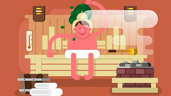Grafik: Ein Mann beim Saunieren.