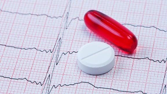 Kapsel und Tablette auf Kardiogramm