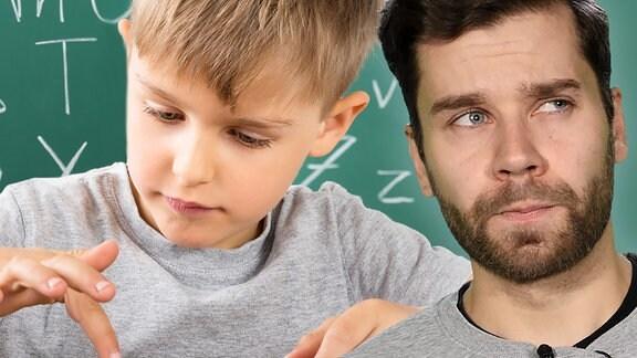 Ein Kind schreibt mit einer Tastatur. Ein Mann mit Bart macht ein fragendes Gesicht.