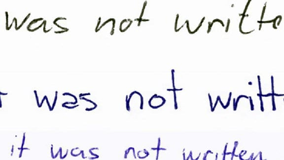 Verschiedene Handschriftzüge von einem englischem Satz