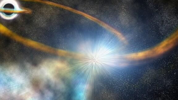 Künstlerische Darstellung: Der Stern wird durch die Gravitation des schwarzen Loches in die Länge gezogen und in einer Umlaufbahn um das schwarze Loch herumgeschleudert, bis er schließlich mit sich selbst kolidiert, wobei noch mehr heißes Material ins All geschleudert wird.