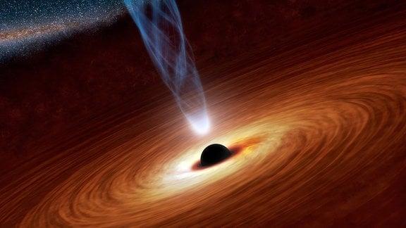 Künstlerische Darstellung eines schwarzen Lochs mit einer breiten Akkretionsscheibe aus kosmischem Gas.