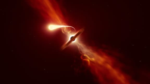 Künstlerische Darstellung eines Sterns, der in ein Schwarzes Loch hineinfällt. Der Stern wird in ein langes, helles Band gezogen und wie ein Ring um das Loch herumgezerrt.