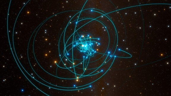 Sterne an einem schwarzen Loch