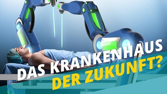 Ein Patient liegt unter zwei blauen Roboterarmen.