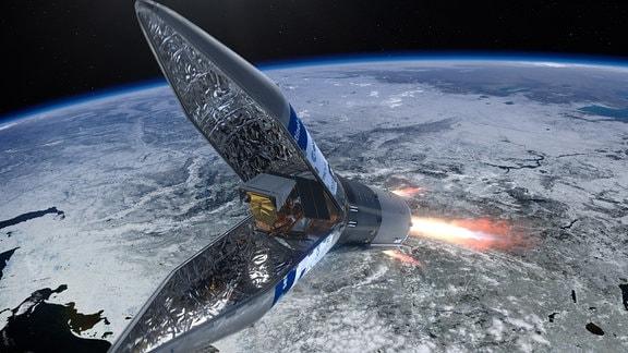 Grafik des Sentinel 5 in der Rockot Trägerrakete