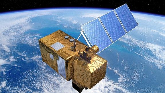 Eine Computergrafik eines Satelliten