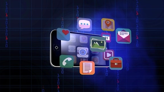 Illustration Smartphone und verschiedene Apps