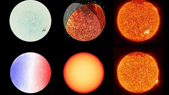 """Ein Mosaik aus neun Bildern, die mit den wissenschaftlichen Instrumenten der Sonde """"Solar Orbiter"""" von Nasa und Esa gemacht wurden."""