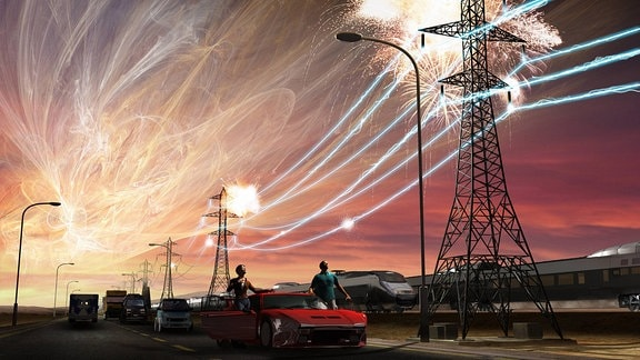 Illustration Ein Solarsturm zerstört Stromlleitungen