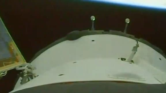 Soyus-Start - Blick von der Rakete zurück zur Erde