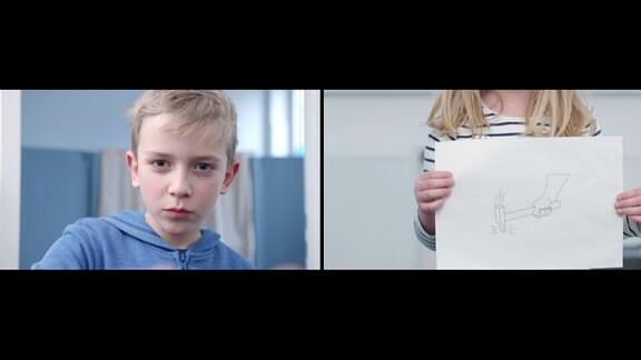 Zwei Bilder - Ein Junge schaut zur Kamera; ein Kind hält eine Zeichnung in die Kamera.