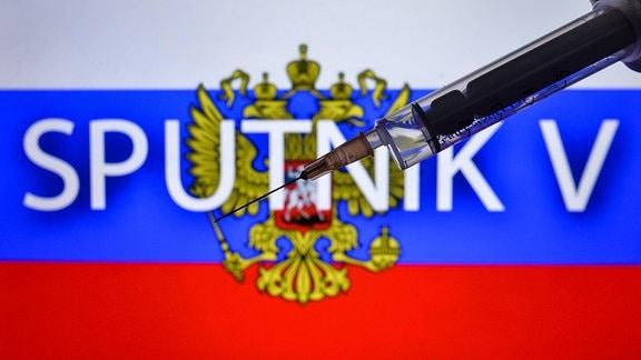 Fotoillustration - eine medizinische Spritze und eine russische Flagge mit Sputnik V-Inschrift im Hintergrund.