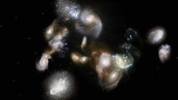 Künstlerische Darstellung einer gewaltigen lange zurückliegenden Galaxienverschmelzung