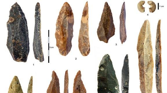 Steinartefakte aus der Übergangszeit vom Neandertaler zum Homo Sapiens