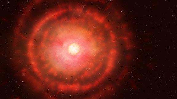 Ein roter Stern im Weltall