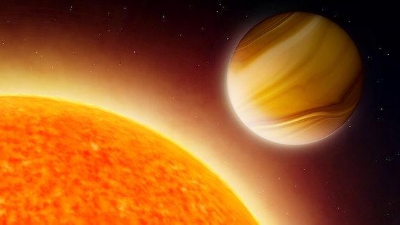 Künstlerische Darstellung eines Exoplaneten, der sich sehr dicht an seinem Stern befindet.