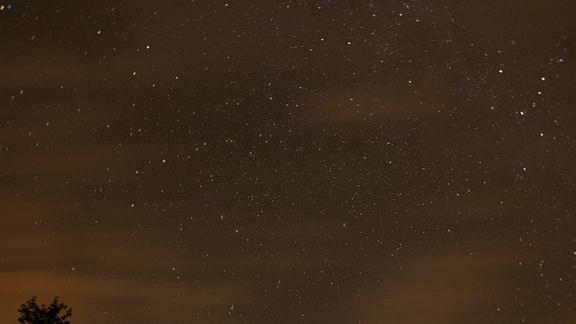 Eine Langzeitaufnahme des Sternenhimmels in Mitteldeutschland im August 2019, fotografiert in Richtung Norden. In der rechten Bildhälfte befindet sich der Polarstern.
