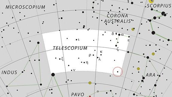 Eine Karte des südlischen Sternenhimmels, die das Sternbild Teleskop zeigt und darin das System HR 6819 mit dem Schwarzen Loch