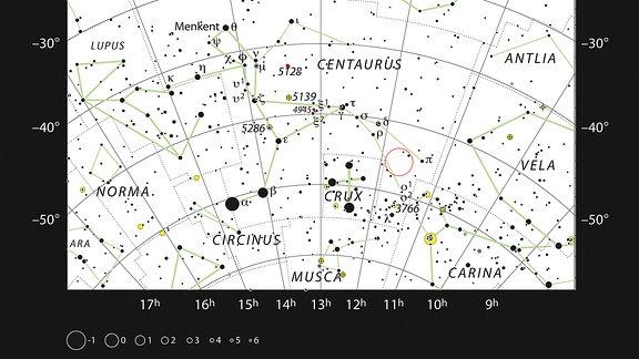 Eine Sternkarte zeigt das System HD101584 im Sternbild des Zentauren