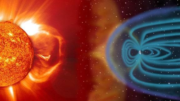 Solarwinde verformen die Magnetosphäre der Erde