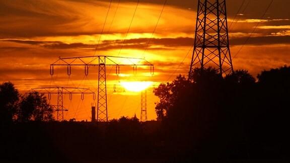 Eine Stromleitung in Halle vor der untergehenden Sonne.