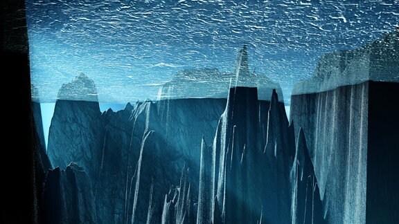 Grafische Darstellung des glazialen Ozeans unter eiszeitlichem Eisschild.