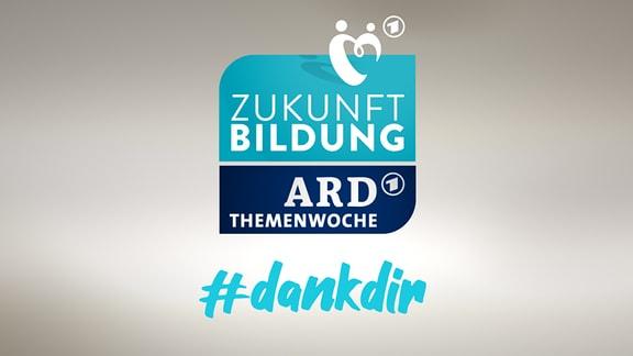 """Logo der ARD-Themenwoiche """"Zukunft Bildung"""" mit dem Hashtag #dankdir"""