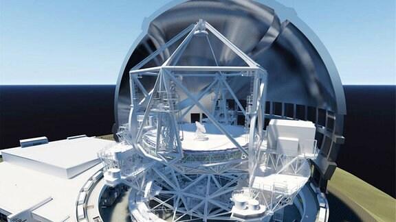 Eine 3D-Darstellung des Dreißig-Meter-Teleskops, die das Teleskop vertikal innerhalb seines Gehäuses zeigt.