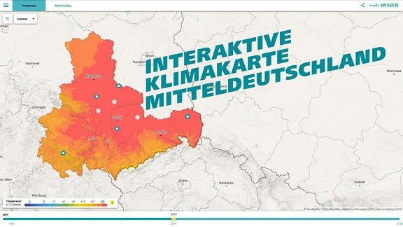 Titelgrafik zur interaktiven Klimakarte Mitteldeutschlands