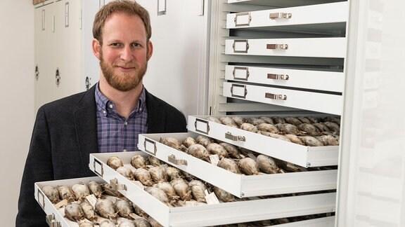 Ein Mann neben Schubfächern mit toten Vögeln