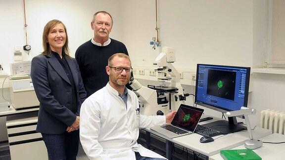 Drei Toxoplasmose-Forscher im Labor.