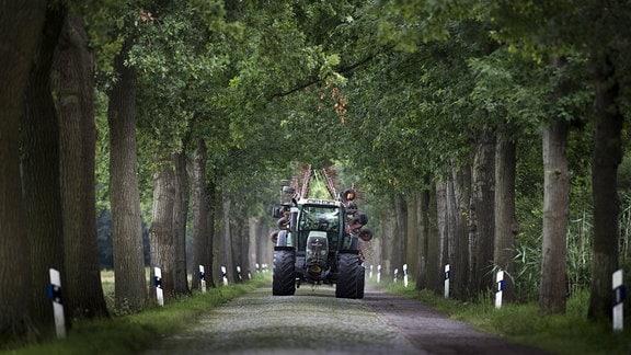 Ein Traktor faehrt entlang einer schmalen Dorfstrasse in Werben