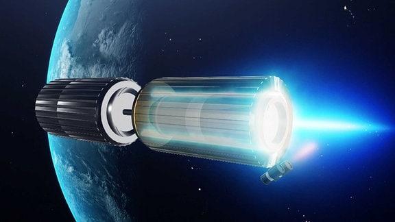 Ein Triebwerk fliegt im All um die Erde.