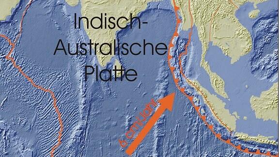 Eine Karte zeigt das Gebiet des Tsunami aus dem Jahr 2004.