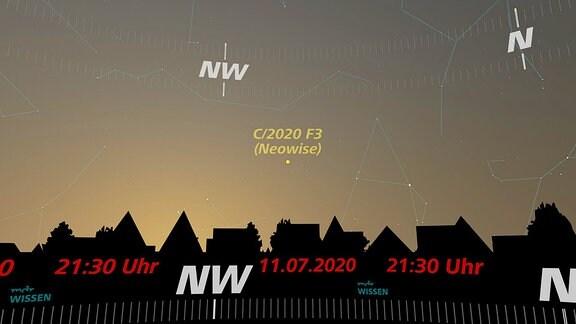 Kurz nach Sonnenuntergang ist der Komet Neowise im Nordwesten zu beobachten. In dieser künstlerischen Darstellung ist der Zeitpunkt am 11. Juli um 21.30 Uhr festgehalten.