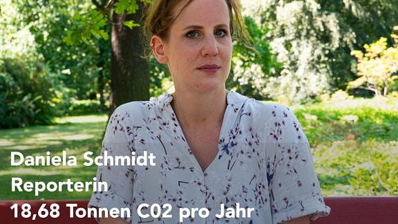 Eine Grafik, die zwei Tabellen zeigt: Einmal den CO2-Ausstoß der MDR-Reporterin Daniela Schmidt und einmal den CO2-Ausstoß des Durchschnittsdeutschen. Daniela Schmidt hat fast 19 Tonnen CO2 im Jahr ausgestoßen, der Durchschnittsdeutsche ca. 12 Tonnen