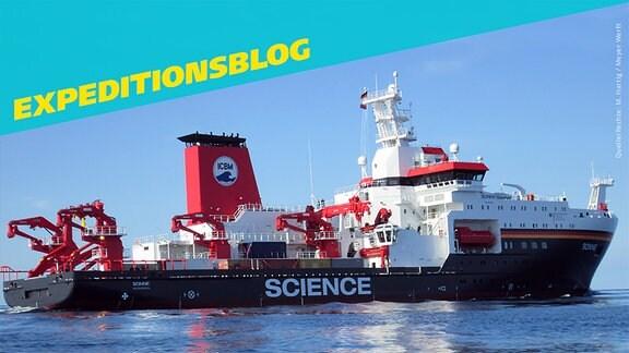 Das Forschungsschiff SONNE, daneben steht Expeditionsblog. (Titelbild für Verlinkung)