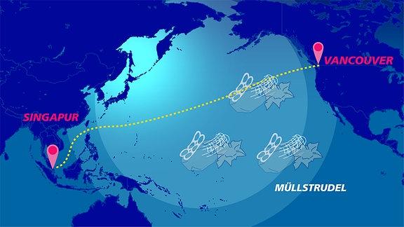 Der Routenverlauf der Expedition MICRO-FATE mit dem Forschungsschiff SONNE