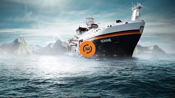 Künstlerische Darstellung des Forschungsschiffs SONNE, darüber ein 360-Grad-Symbol. (Titelbild für Verlinkung)