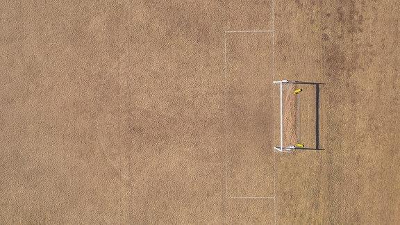 Ein Fußballplatz von oben