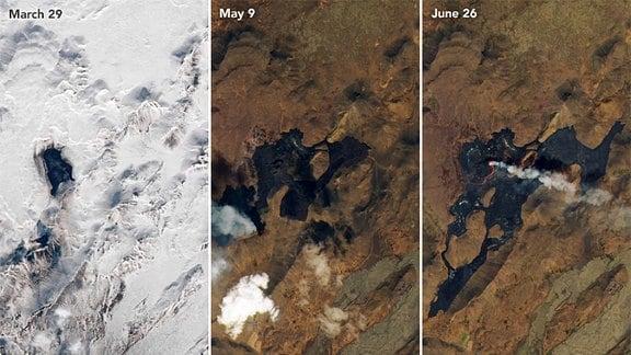 Bilder vom Landsat-8 Satelliten zeigen den Vulkan auf Island während des Ausbruchs und in der Zeit davor.