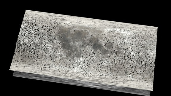 Die Höhenkarte und die Mondkarte wurden aufeinander gelegt und bieten ein realistisches Bild über die Gegebenheiten auf dem Mond
