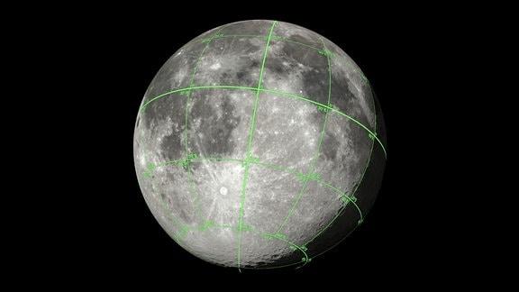 Der Mond mit Meridianen