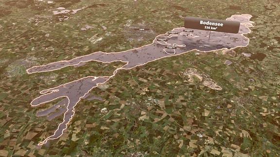 Größenvergleich der neuen Seen südlich von Leipzig mit dem Bodensee.
