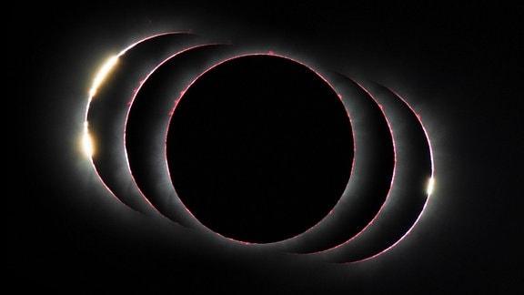 Mehrere Bilder einer totalen Sonnenfinsternis aneinandergereiht