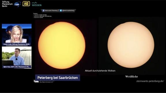 Screenshot vom Live-Stream der großen Sommer-Sonnenfinsternis 2021.