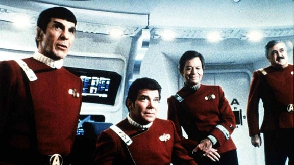 Leonard Nimoy, William Shatner, DeForest Kelly, James Doohan Nach gelungener Mission